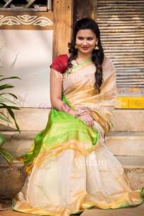 Cream and green uppada tissue cotton sarees