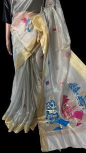 Silver pure handloom tussar tissue silk sarees