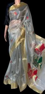 Silver pure tussar tissue silk sarees