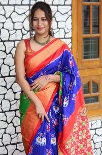 Dark blue with orange handloom ikkat silk sarees
