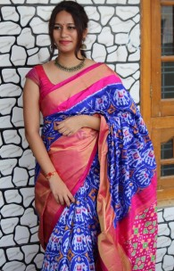 Dark blue with pink handloom ikkat silk sarees