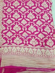 Dark pink pure handloom banarasi silk chiffon Georgette khaddi sarees