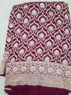 Burgundy pure banarasi silk Chiffon Georgette khaddi sarees
