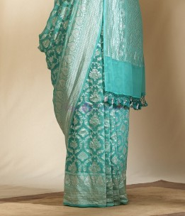 Aqua blue pure banarasi silk chiffon Georgette khaddi sarees