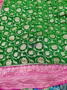 Dark green and pink pure banarasi silk chiffon Georgette khaddi sarees