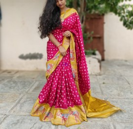 Dark pink and mustard gold handloom ikat sarees
