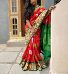 Orange with green handloom ikat sarees