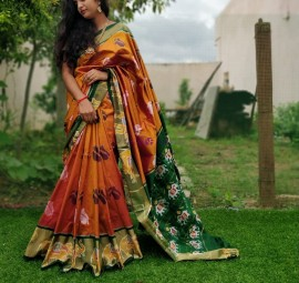 Dark mustard and dark green handloom ikat sarees