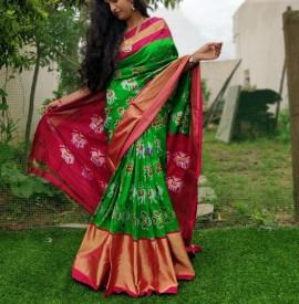Green handloom ikat sarees