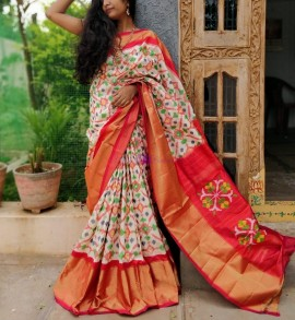 Cream with orange handloom ikat sarees