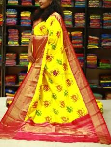 Yellow handloom ikat sarees