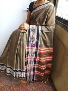 Brown Narayanpet cotton sarees