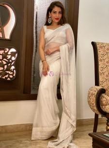 Cream pure chiffon banarasi sarees
