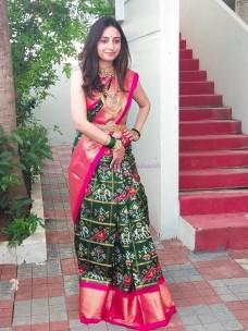 Dark green with dark pink handloom ikat silk sarees
