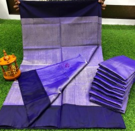 Navy blue uppada tissue silk sarees