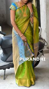 Green and light blue uppada tissue cotton sarees