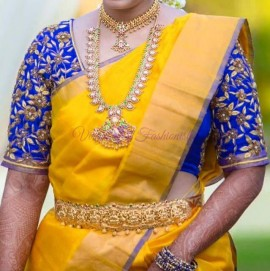 Yellow with blue uppada tissue cotton sarees
