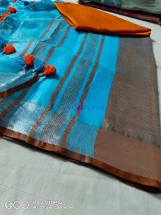 Light blue 100 count linen sarees