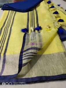 Yellow and Royal Blue 100 count linen sarees