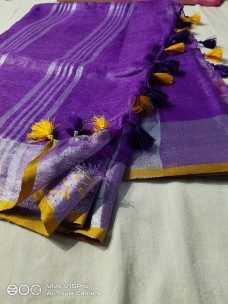 Dark purple and yellow 100 counts linen sarees