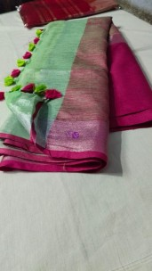 Green and pink 100 count linen sarees