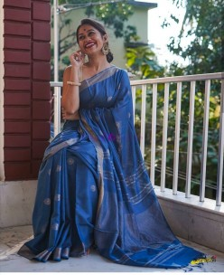 Blue 100 count linen sarees with butti