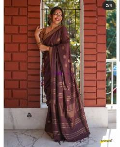 Reddish brown 100 count linen sarees with butti