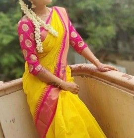Yellow and pink chanderi cotton sarees