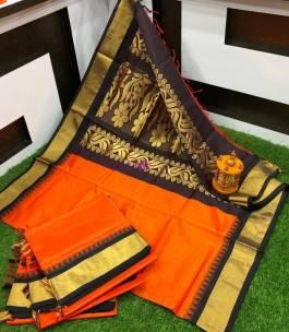 Orange chanderi cotton sarees