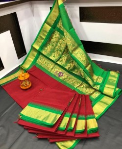 Red and green chanderi cotton sarees