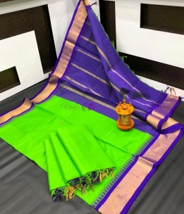 Apple green chanderi cotton sarees