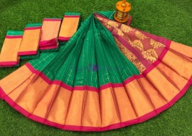 Dark green chanderi kuppadam checks sarees