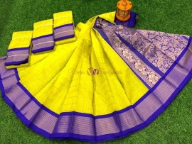 Lemon yellow chanderi kuppadam checks sarees
