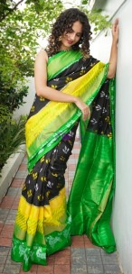 Black and green handloom ikkat silk sarees