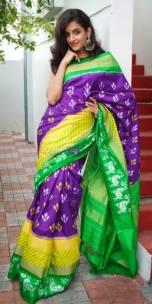 Purple with green and yellow handloom ikkat silk sarees