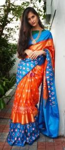 Orange with light blue handloom ikkat silk sarees