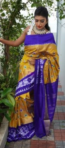 Mustard and indigo handloom ikkat silk sarees