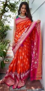 Orange and pink handloom ikkat silk sarees
