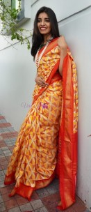 Yellow and orange handloom ikkat silk sarees