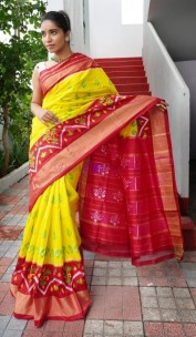 Yellow and dark pink handloom ikkat silk sarees