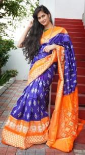 Navy blue and orange handloom ikkat silk sarees