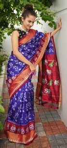 Indigo and maroon red pure handloom ikkat silk sarees