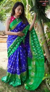 Dark blue pure handloom ikkat silk sarees