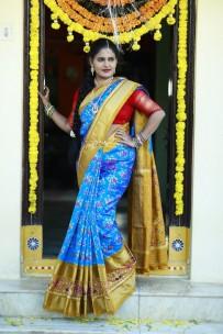 Light blue and dark mustard handloom ikkat silk sarees