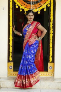 Dark blue and red pure handloom ikkat silk sarees