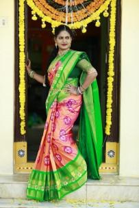 Pink and green pure handloom ikkat silk sarees