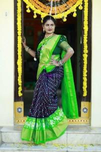 Black and green pure handloom ikkat silk sarees