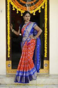 Orange and dark blue pure handloom ikkat silk sarees