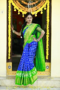 Dark blue and green handloom ikkat sarees