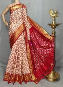 Cream and red pure handloom ikkat silk sarees